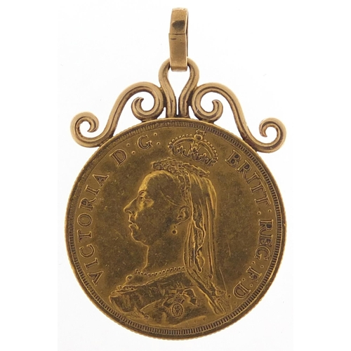 190 - Queen Victoria Jubilee Head 1887 gold double sovereign with pendant mount, 17.9g - this lot is sold ...