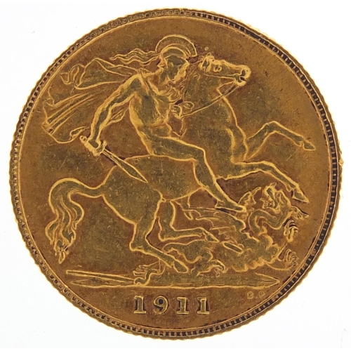 197 - George V 1911 gold half sovereign - this lot is sold without buyer's premium, the hammer price is th...