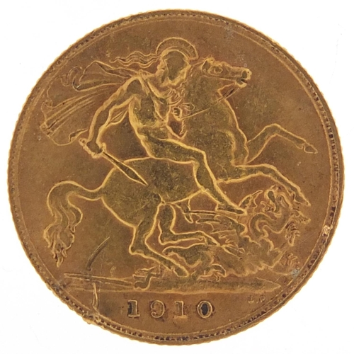 199 - Edward VII 1910 gold half sovereign - this lot is sold without buyer's premium, the hammer price is ...