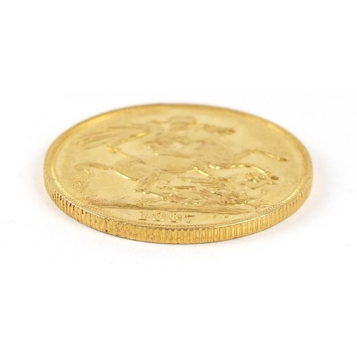 200 - Queen Victoria Jubilee Head 1887 gold double sovereign - this lot is sold without buyer's premium, t...