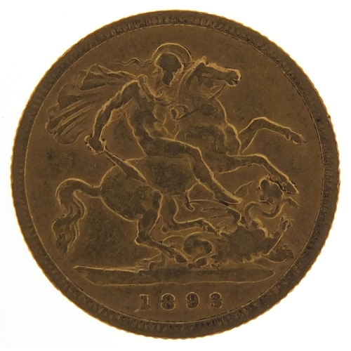 202 - Queen Victoria 1893 gold half sovereign - this lot is sold without buyer's premium, the hammer price...