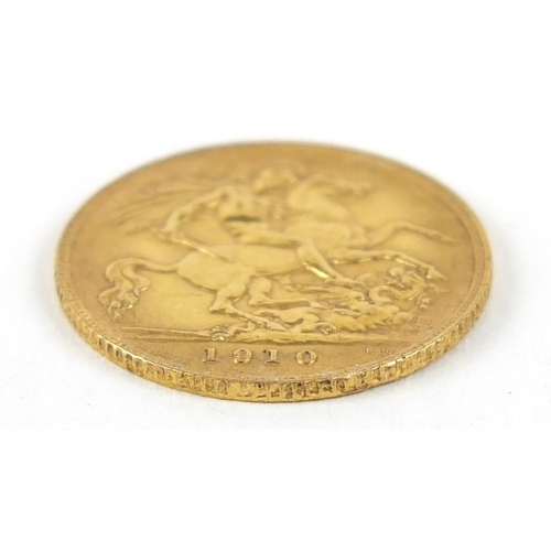 204 - Edward VII 1910 gold half sovereign - this lot is sold without buyer's premium, the hammer price is ...