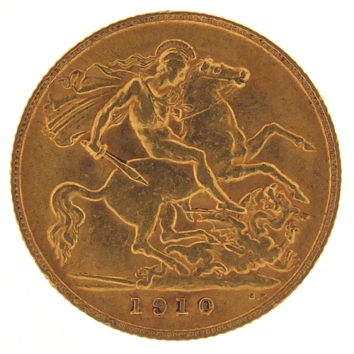 208 - Edward VII 1910 gold half sovereign - this lot is sold without buyer's premium, the hammer price is ...
