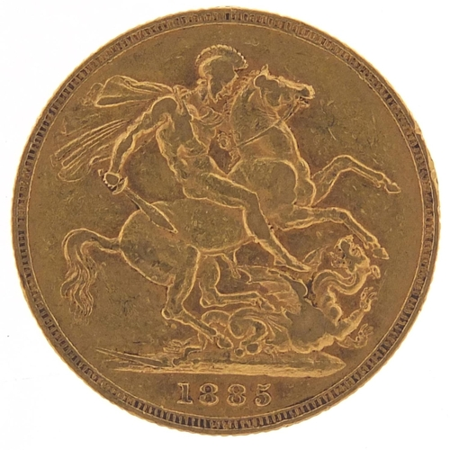 Victoria Young Head 1885 gold sovereign, Melbourne mint - this lot is sold without buyer's premium, the hammer price is the price you pay
