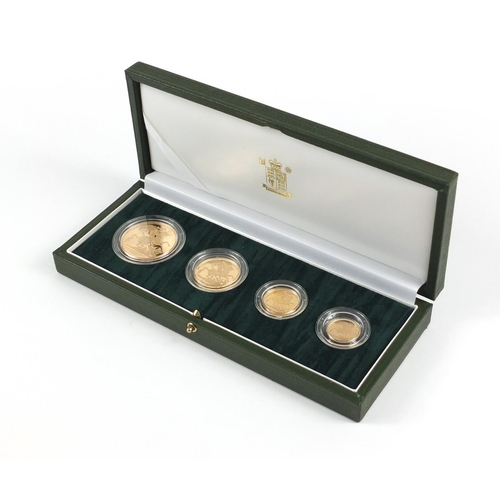 United Kingdom 2007 gold proof four coin sovereign collection with box and certificate numbered 535, comprising five pound, double sovereign, sovereign and half sovereign - this lot is sold without buyer's premium, the hammer price is the price you pay
