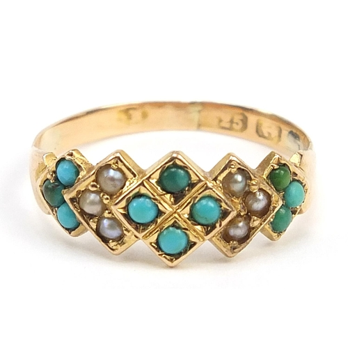 44 - 15ct gold turquoise and seed pearl ring, size K, 1.6g...
