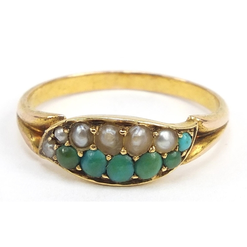 15 - 15ct gold turquoise and seed pearl ring, size P, 2.7g...