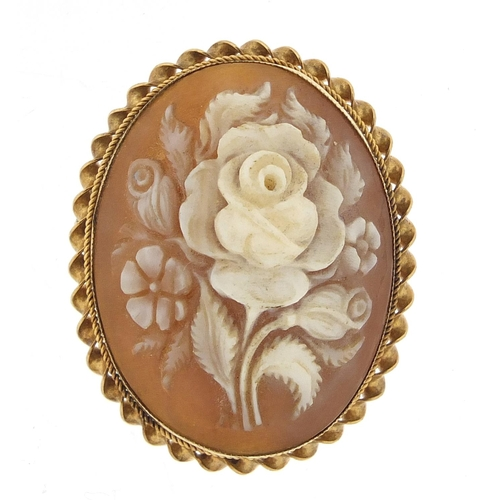 9ct gold cameo floral brooch, 3.2cm high, 6.7g