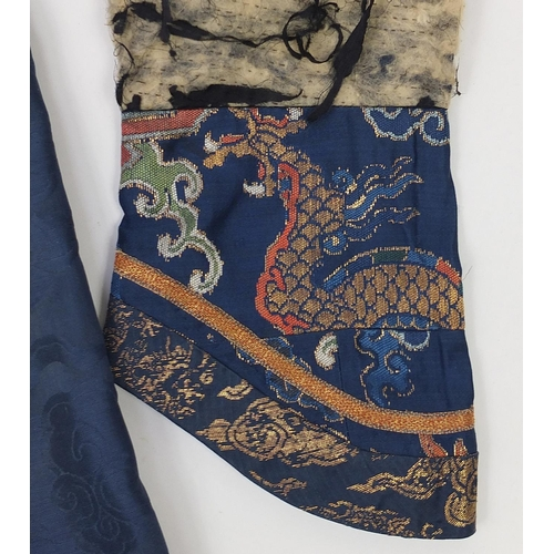 910 - Chinese silk dragon robe with brass buttons