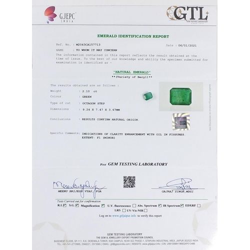 50 - Zambia emerald gemstone with certificate, approximately 2.10 carat...