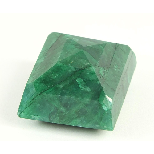 48 - Square cut beryl emerald gemstone with certificate, approximately 328.0 carat...