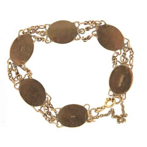 45 - 9ct gold cabochon opal bracelet, 16cm in length, 23.2g...