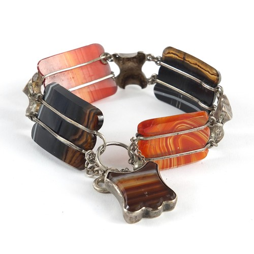 12 - Antique unmarked silver Scottish agate bracelet with padlock design clasp, 18cm in length, 34.6g...