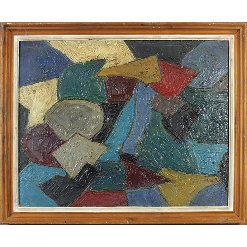 42 - Abstract composition, Impasto oil on board, mounted and framed, 75cm x 59cm excluding the mount and ...