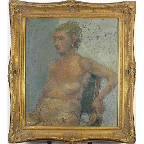 39 - Portrait of a seated nude female, British school oil on board, framed, 63.5cm x 53.5cm excluding the...