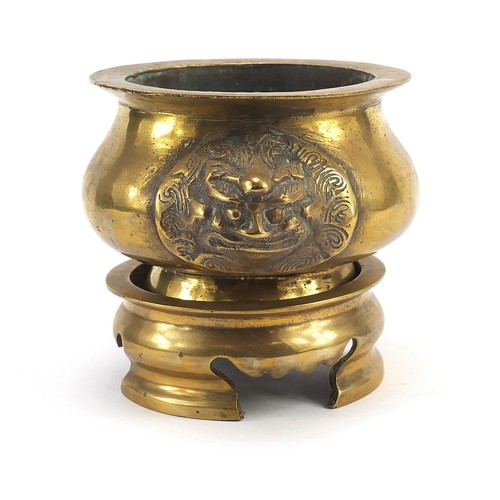 36 - Chinese bronze censer with animalia handles on stand, overall 11.5cm high x 15.5cm wide (PROVENANCE:...