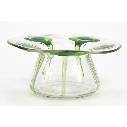 Stuart & Sons, Art Nouveau Stourbridge glass bowl with applied green peacock trailing, 14.5cm in diameter