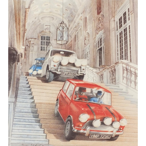 Brian Sapsford - Self Preservation Society, Italian Job, pencil signed print in colour, limited edition 65/395, unframed, 53cm x 46cm