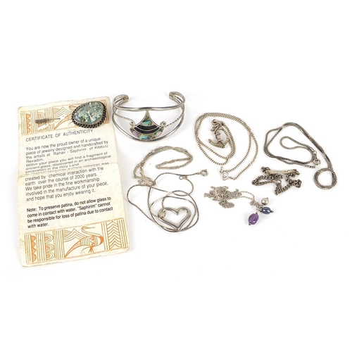 Silver and white metal jewellery including anchor pendant on chain and antique glass and silver pin, total 50.0g