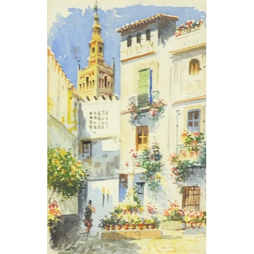 Continental courtyard, 19th century Italian school watercolour, mounted, and framed, 20cm x 12cm excluding the mount and frame