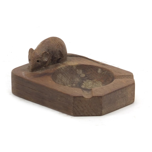 272 - Robert Mouseman Thompson, carved oak ashtray with signature mouse, 10.5cm wide