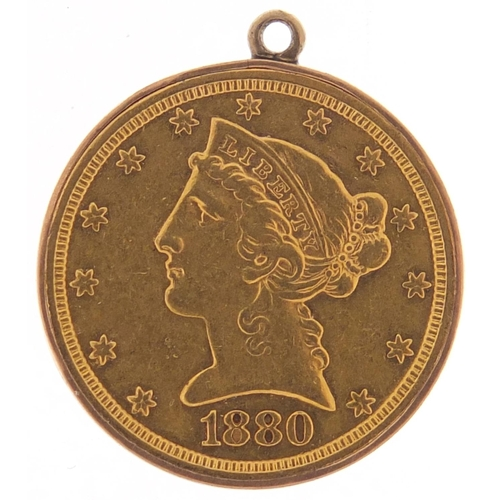 485 - United States of America 1880 gold five dollars, Liberty head to the reverse and mount, 8.7g - this ...
