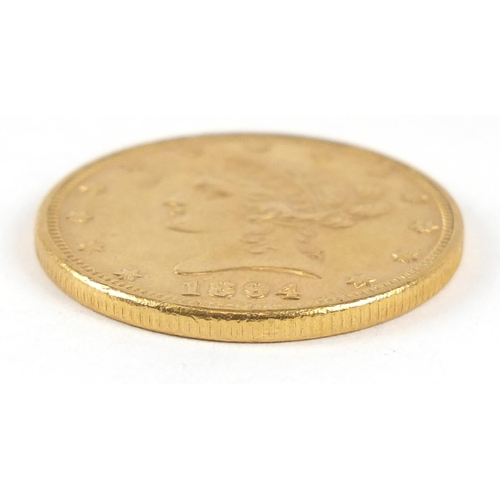 510 - United States of America 1894 gold ten dollars, Liberty head to the reverse 17.5g - this lot is sold...