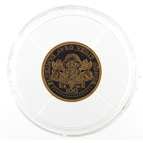 513 - 2003 14ct gold proof coin commemorating Princess Diana from the 21st Century Gold Rarities series, w...