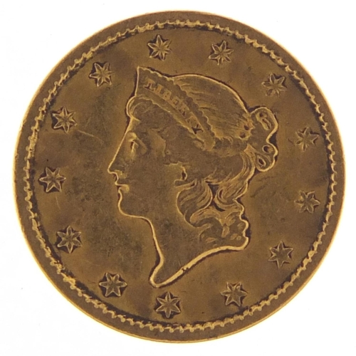 517 - United States of America 1851 gold one dollar, Liberty head to the reverse - this lot is sold withou...