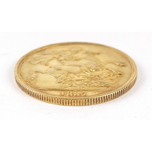 476 - Queen Victoria Jubilee Head 1887 gold double sovereign - this lot is sold without buyer's premium, t...