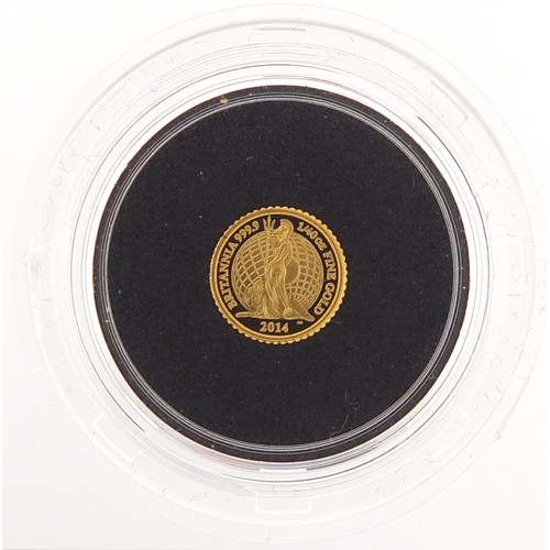 507 - Elizabeth II 2014 Britannia 1/40th ounce gold proof coin, 0.8g, numbered 1211 - this lot is sold wit...