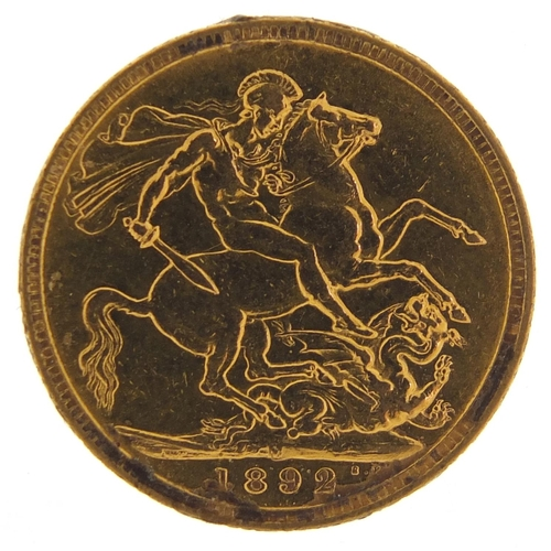 499 - Queen Victoria Jubilee Head 1892 gold sovereign, Melbourne Mint - this lot is sold without buyer's p...