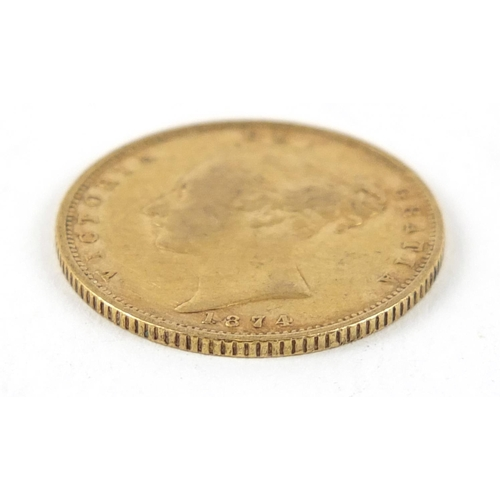 522 - Victoria Young Head 1874 shield back gold half sovereign - this lot is sold without buyer's premium,...