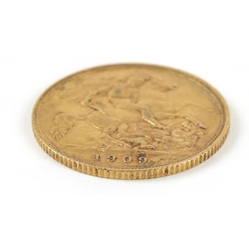 487 - Edward VII 1909 gold half sovereign - this lot is sold without buyer's premium, the hammer price is ...