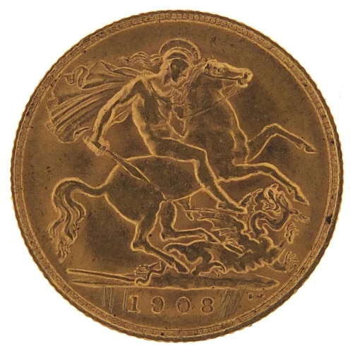 497 - Edward VII 1908 gold half sovereign - this lot is sold without buyer's premium, the hammer price is ...