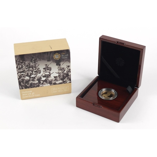490 - Elizabeth II 2014 two pound gold coin commemorating the 100th Anniversary of the First World War Out...