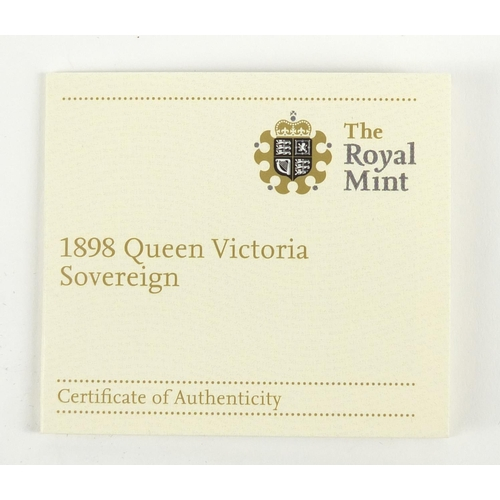 520 - Queen Victoria 1898 gold sovereign, Melbourne mint with box and certificate numbered 5570 - this lot...
