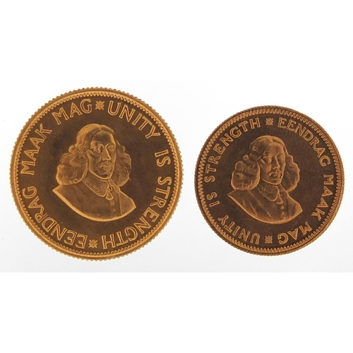 505 - Two South Africa 1974 gold coins with box comprising 2 rand and 1 rand - this lot is sold without bu...