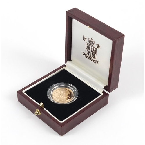 500 - Elizabeth II 1999 gold proof sovereign with box and  certificate numbered 9169 - this lot is sold wi...