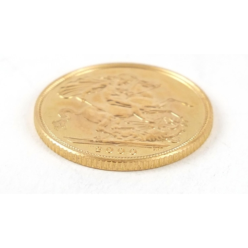 478 - Elizabeth II 2000 gold sovereign - this lot is sold without buyer's premium, the hammer price is the...