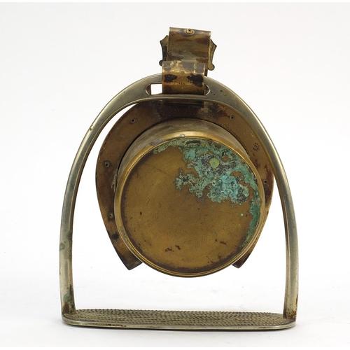 12 - 19th century horseshoe and stirrup design mantle clock with enamel dial having arabic numerals, 20cm...