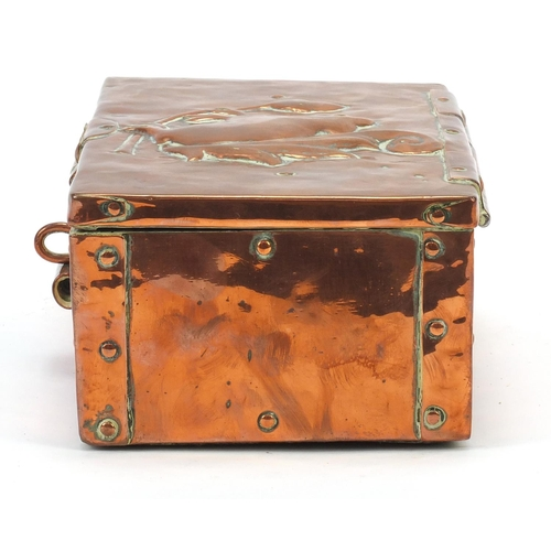 1 - John Pearson, Arts & Crafts copper casket embossed with a squirrel on an acorn tree, impressed JP to...