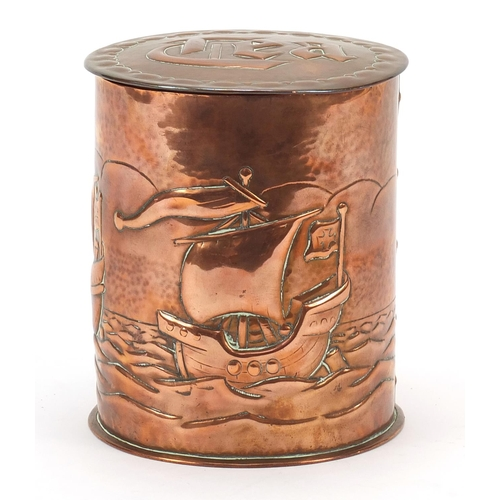 2 - Newlyn, Arts & Crafts copper tea caddy embossed with three sailing ships, impressed Newlyn to the ba...