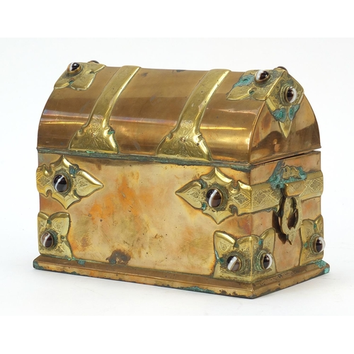 22 - Victorian Gothic style brass stationary box set with Scottish agate cabochons, 17cm H x 22cm W x 11....
