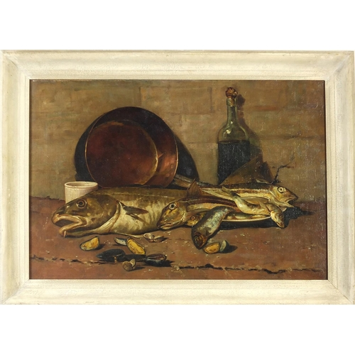 52 - Still life fish, copper pan, bottle, and shells, antique oil on canvas, framed, 73.5cm x 49.5cm excl...
