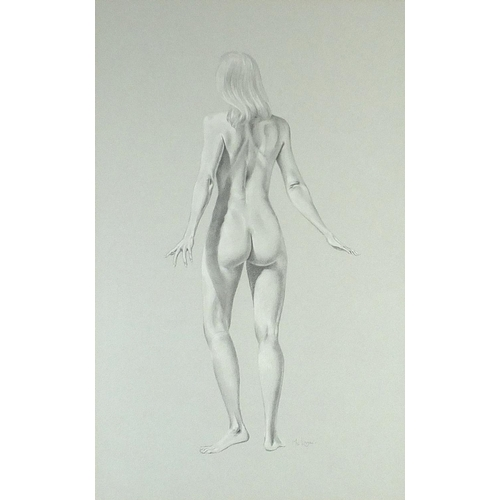 51 - McLaren - Standing nude females, pair of signed pencil drawings, mounted, framed and glazed, each 75...