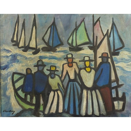 53 - Manner of Markey Robinson - Figures before fishing boats, Irish school oil on board, framed, 49.5cm ...
