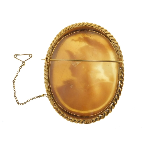 20 - Large well detailed gladiator cameo brooch with 9ct gold mount, 7cm high, 27.4g...