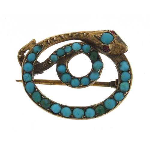 21 - Antique gold coloured metal and turquoise serpent brooch, 2.8cm wide, 5.4g...