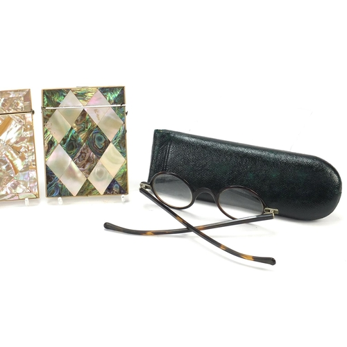 29 - Antique and later objects including two Victorian mother of pearl and abalone calling card cases, Me...